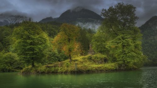 High-Resolution Nature Wallpapers with A Picture of Johannesinsel in the Koenigssee