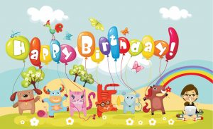 Happy Birthday Wallpaper for Kids with Funny Animals in Cartoon
