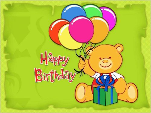 Happy Birthday Wallpaper for Kids with Teddy Bear