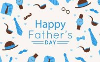 Happy Fathers Day Greeting Card in Blue and White
