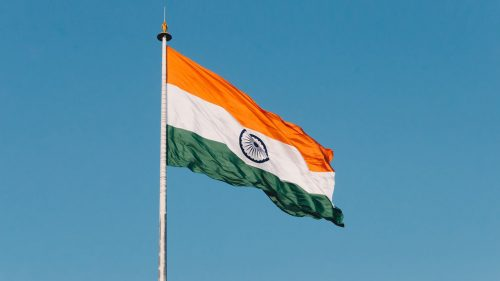 Picture of Flag of India on Pole for Wallpaper