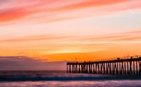 Beach Wallpaper for Phone with Hermosa Beach Pier Sunset