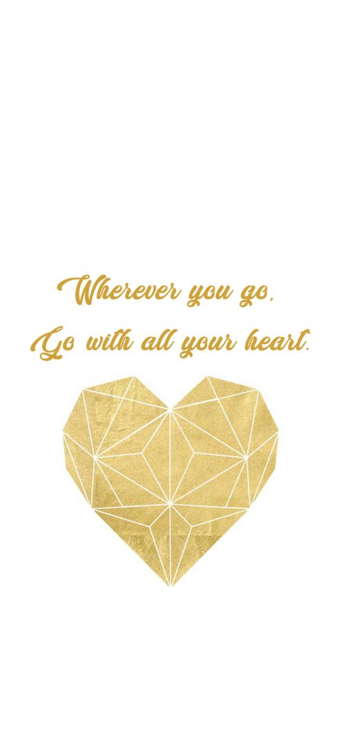 Inspirational Wallpapers for Mobile with Geometric Gold Heart