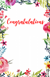 Congratulations Images PNG Free Download with Floral Borders