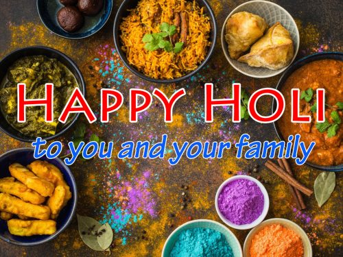 Happy Holi to You and Your Family Greeting Card Design