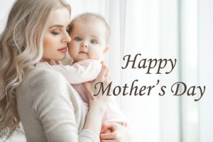Happy Mother's Day Greeting Card Design with Picture of Mom and Baby