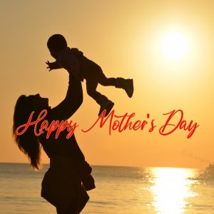 Happy Mother's Day Wallpaper with Silhouette of Mother and Son