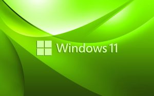 Green Windows 11 Wallpaper with Official Logo for Laptop Backgrounds
